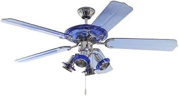 Deko-Elektro Pepeo Blue Angel - Ventilador de Techo con iluminación (132 cm), Color Azul