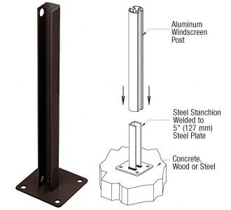 Matte Bronze AWS Steel Stanchion for 90 Degree Rectangular Corner Posts by CR Laurence
