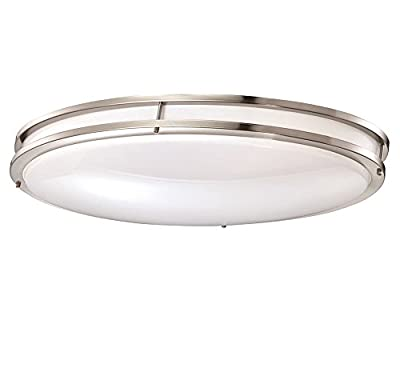 """Designers Fountain Low Profile LED Flush Mount Ceiling Brushed Lighting Fixture, 32"""", Nickel/White"""
