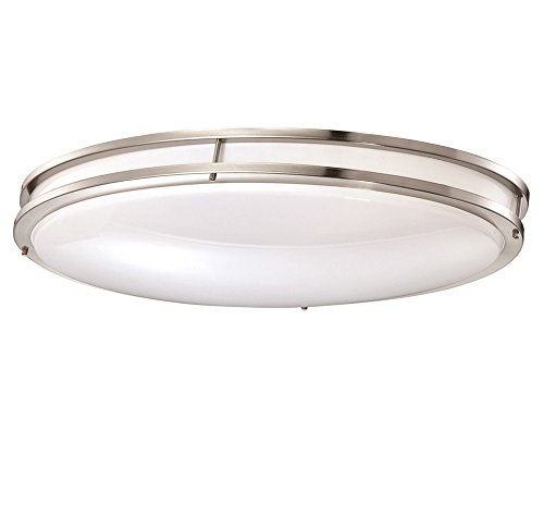 Designers Fountain Low Profile LED Flush Mount Ceiling Brushed Lighting Fixture, 32'', Nickel/White by Designers Fountain