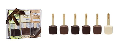 Hot Chocolate on a Stick - 6 Pack Holiday Gift Box - Dark, Milk, Vanilla White, Caramel, Mocha and Peppermint