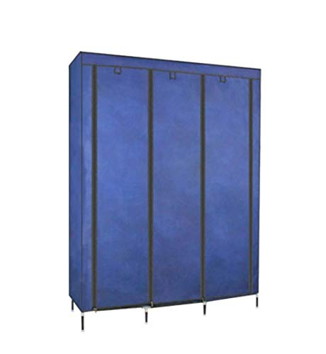 (ALWUD Portable Wardrobe Clothes Storage Organizer, Non-Woven Fabric Closet Shelves with Hanging Rod Big Steel Pipe Cloth Closet,Blue_17012645cm)