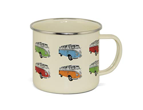 BRISA VW Collection VW T1 Bus Enamel Mug 500ml - Parade/Beige (Collection Mug Breakfast)