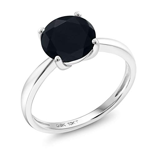 (Gem Stone King 10K White Gold 1.65 Ct Round Black Onyx 8MM Engagement Solitaire Ring (Size 9))