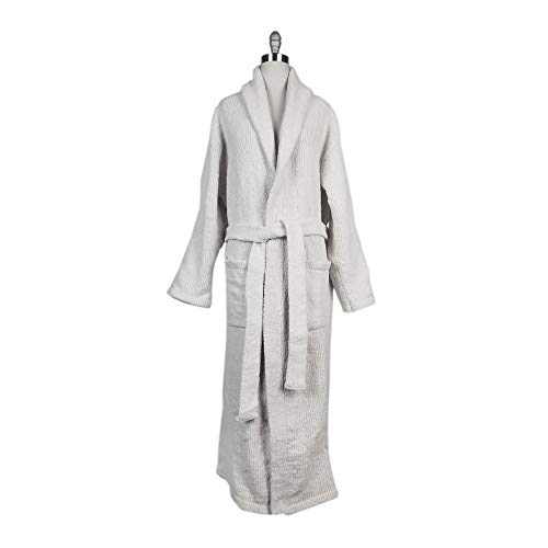 Imperial Textile Chenille Shawl Collar Full Length Bathrobe (White)