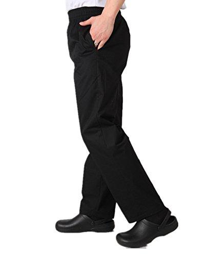 WAIWAIZUI Kochhose Koch Arbeitshose Elastische Taille Schwarz