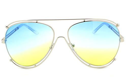 (Blue Violet Designer Inspired Double Wire Large Sunglasses Metal Frame Women)
