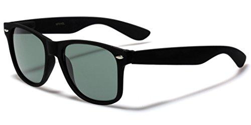 Classic Mens Retro 80s Fashion Sunglasses with Glass Lens Black (Matte) | Green