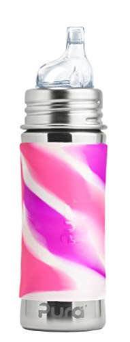 Pura Kiki 11 Oz / 325 Ml Stainless Steel Sippy Cup With Silicone Xl Sipper Spout & Sleeve, Pink Swirl (plastic Free, Nontoxic Certified, Bpa Free)