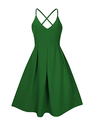(GlorySunshine Women's Deep V Neck Adjustable Spaghetti Straps Dress Sleeveless Sexy Backless Cocktail Party Dresses (S, Green))