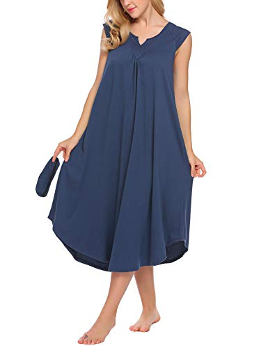 Ekouaer Nightgowns for Women Plus Size Long Loungewear Sleeveless V Neck Sleepwear Night Dress Summer Lounge Nightwear
