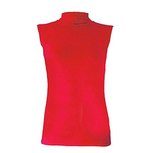 Nouvelle Tortue Manche Polo Des Femmes Dames Haut Haut Moulante Cou 8-26 Rouge