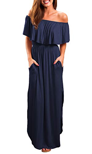 OYANUS Womens Off The Shoulder Ruffles Pockets Dress Side Split Maxi Dresses Navy XL