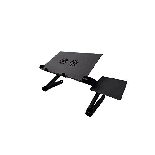 TGEG Portable Foldable Adjustable Ergonomic Laptop Table Desk Bed Tray Cooling Pad with Mouse Pad - Foldable Cooling Laptop Table