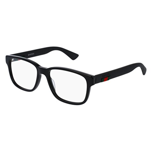 Gucci GG 0011O 001 Black Plastic Square Eyeglasses 53mm (Gucci Frames Mens Glasses)