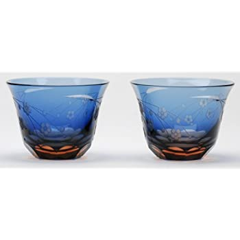 Amazon com | Japanese Lucky Cut Glass Sake Cups A Pair of Mt  Fuji
