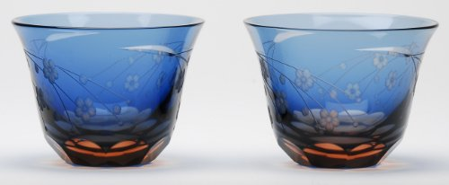 Japanese Edo-Kiriko (Cut Glass) Sake Cups A Pair of Cherry Blossom Pattern by KIMOTO GLASSWARE by KIMOTO GLASSWARE