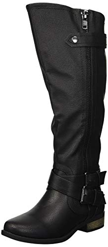 Rampage Women's Hansel Zipper and Buckle Knee-High Riding Boot,Black Smooth,10 B(M) US Regular Calf