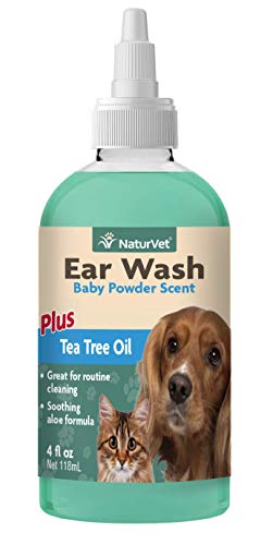 NaturVet - Ear Wash Liquid - Plus Tea Tree Oil - Gentle Formula Dissolves Ear Wax & Removes Debris - Enhanced with Aloe & Baby Powder Scent - For Dogs & Cats - 4 oz