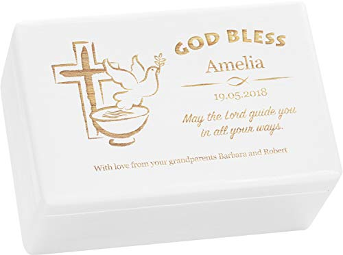 LAUBLUST Engraved Wooden Gift Box - Size L, 12x8x6in - ❤️ Personalized ❤️ Baptism Keepsake Box - Christian Cross | Painted White - Made in Germany by LAUBLUST