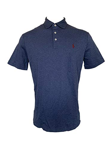 Polo Ralph Lauren Mens Interlock Polo Shirt (Navy Heather/Red Pony, Medium) (Ralph Lauren Deutschland)