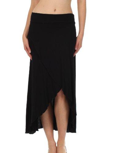 Sakkas 0326 Soft Jersey Feel Solid Color Strapless High Low Dress / Skirt - Black / X-Large