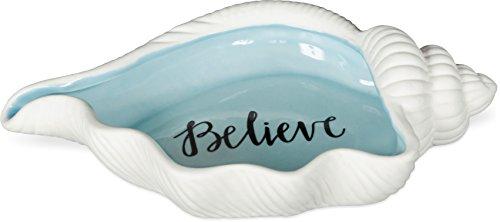 AngelStar Believe Shell Coastal Dish, 7 Inches Long, 10182