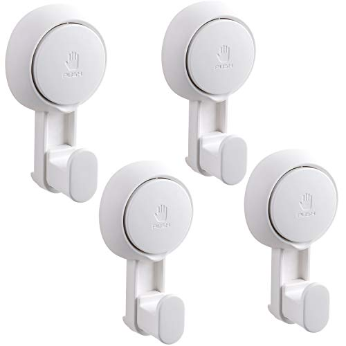 - Elegear Suction Cup Hooks - 4Pack Suction Hooks Home Kitchen Shower Bathroom Hooks Hangers for Towel Chrome Loofah Sponge Robe Wreath Bag Coat and Key, White