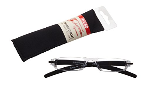 Fisherman Eyewear Slim Vision Rimless Reading Glasses, Shiny Black (+1.50)
