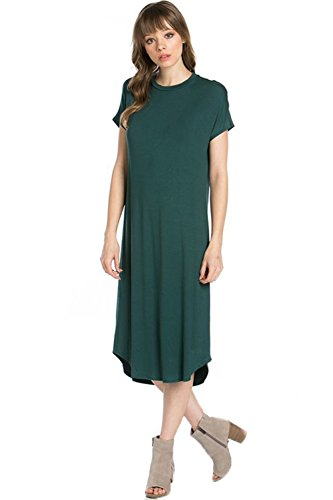 Swing Short Dress Azules Sleeve Women's Green Dark Midi CwnpqZp