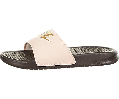 (Nike Women's Benassi JDI Slide Sandal 343881-801 (7, Crimson Tint/Metallic Gold))