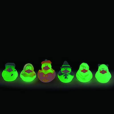 Fun Express Mini Glow-in-the-Dark Halloween Rubber Duckies-2 dozen-Trick-or-Treat favors, giveaways, Novelty Party Decorations: Toys & Games