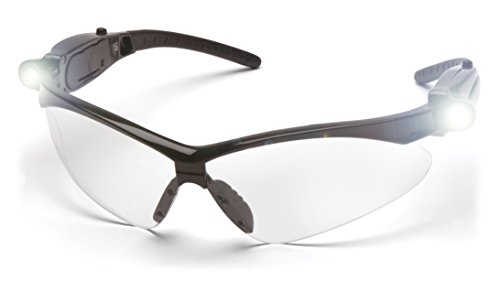 Pyramex PMXTREME Safety Glasses, Black Frame / Clear Anti-Fog Lens (NO CORD), LED Temples