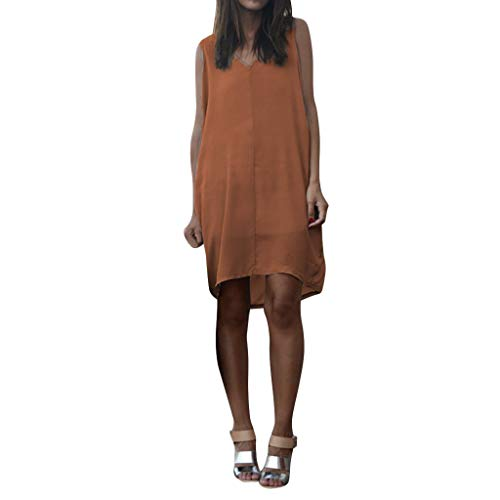 Armoire Cotton (Hot!Woman's V-Neck Solid Color Vacation Dress Ninasill Sleeveless Cotton and Linen Dress Casual Elegant Short Skirt Orange)