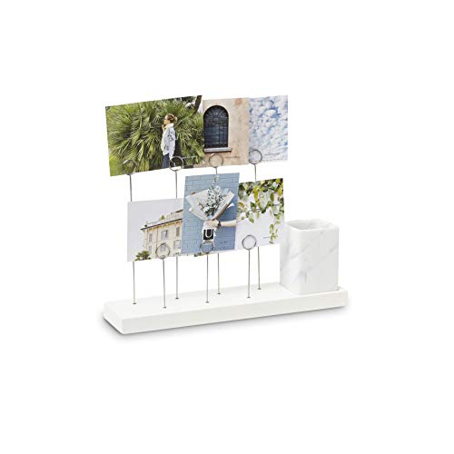 (Umbra Gala, Multi Built in Planter or Pen Holder for Desk, Non Picture Frame with 7 Photo Clips, White)