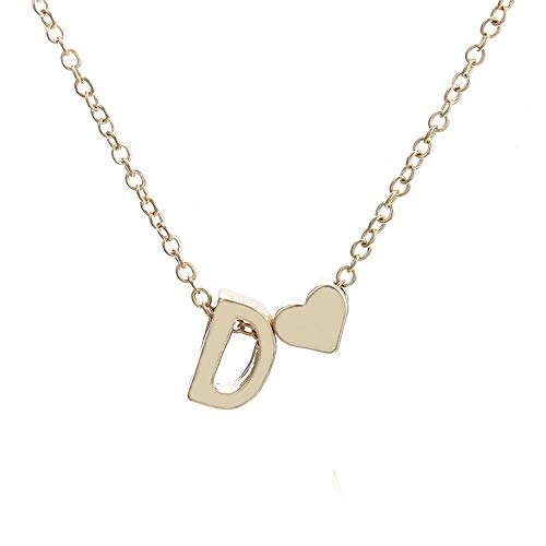 (Mahoner Women DIY 26 Letter Charm Bamboo Initial Pendant Gold Plated Choker Necklace Cute Heart Letter Choker Chain Pendant Jewelry)