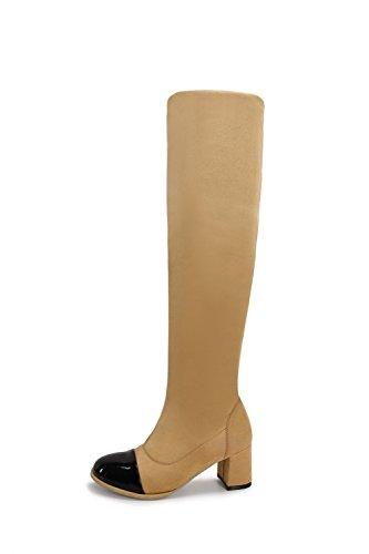 AllhqFashion Damen Ziehen auf Mittler Absatz Gemischte Farbe Hoch-Spitze Stiefel, Schwarz, 34