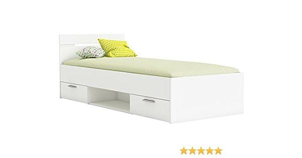 Miroytengo Cama Infantil Juvenil 90x190 diseño con cajones y Hueco Almacenamiento Color Blanco: Amazon.es: Hogar