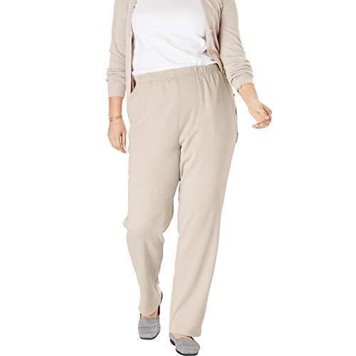 (Woman Within Women's Plus Size 7-Day Knit Straight Leg Pant - Natural Khaki, S)