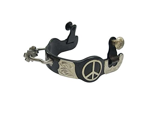 Barrel Racing Bumper Spurs Humane Sidewinder with Rowels Peace Sign Ladies