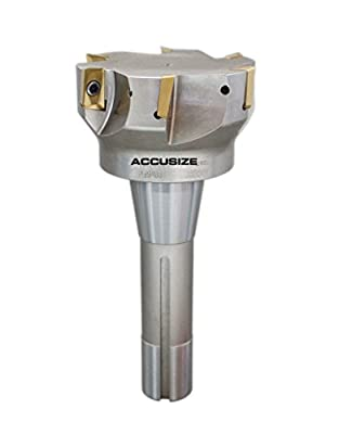 "Accusize Tools - 3"" x 6-1/4"" 90 Degree R8 Shank Indexable End Mills with 6 ps APKT1604 carbide Inserts installed, #0028-6908"