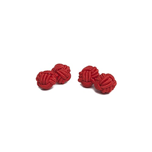 (Jacob Alexander Pair of Solid Color Silk Knot Cufflinks - Crimson Red)
