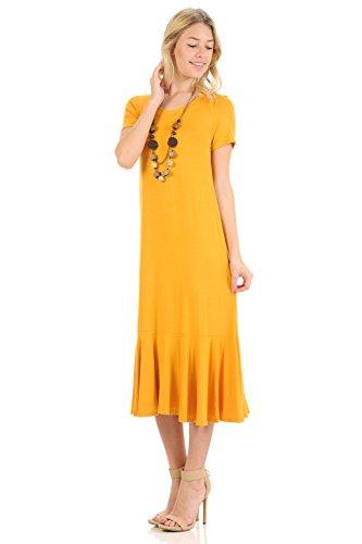 iconic luxe Women's A-Line Ruffle Hemline Midi Dress Small -