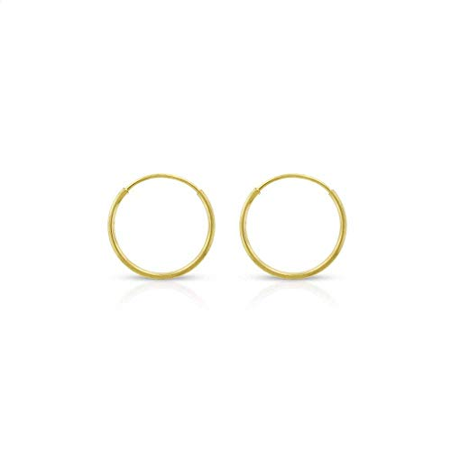 Orostar 14K Yellow Gold Classic Shiny Polished Round Endless Hoop Earrings, 1MM Tube (Yellow Gold, 10) (Polished Earrings Tube Gold)