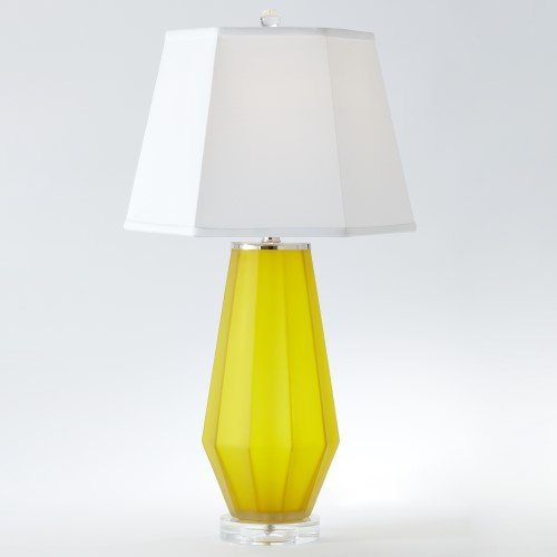 Hexagon Buffet - Elegant Frosted Yellow Hexagon Table Lamp | Art Glass Classic Shape