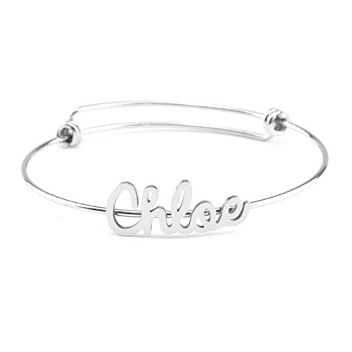 Yiyang Chloe Name on Bracelet Personalized Gifts for Women Unique Expandable Wire Bangle Stainless Steel Jewelry