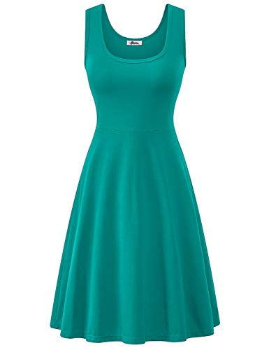 Herou Sleeveless Cotton Casual Dresses for Women Turquoise Small