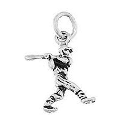 (Sterling Silver Small Baseball Player Swinging Bat Charm (3D Charm) Jewerly Making Supply Bracelet DIY Crafting by Easy to be happy!)