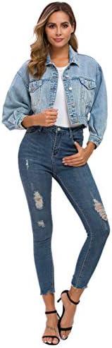 Women's Loose Jean Jacket Casual Long Sleeve Denim Classic Jacket Coats