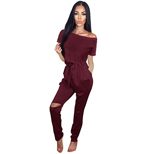 Longwu Women's Fashion One Shoulder Drawstring Jumpsuits Rompers Knee Hole Pants with Pockets Wine Red-L